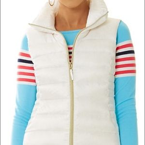 LILLY PULITZER White Allie Packable Down Vest
